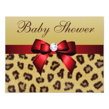 Toddler & Baby themed Leopard Print, Red Bow Baby Shower Card