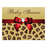 Leopard Print, Red Bow Baby Shower Custom Invite