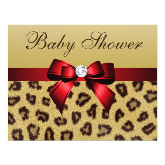 Leopard Print Red Bow Baby Shower Custom Invite