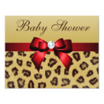 Leopard Print, Red Bow Baby Shower 4.25x5.5 Paper Invitation Card