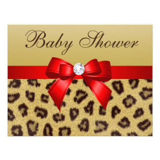 Leopard Print Red Bow Baby Shower Invitations