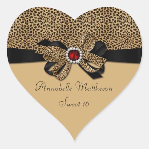 Leopard Print Red Jewel Diamonds Sweet 16 Heart St Heart Sticker