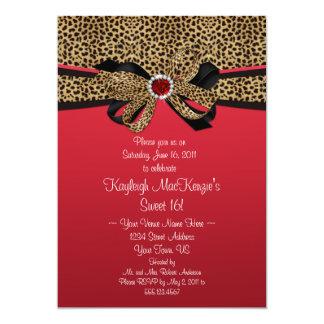 Leopard Print Red Jewels Diamonds Sweet 16 Card