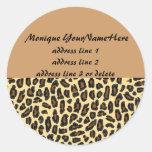 Leopard Print Return Address Labels Round Sticker