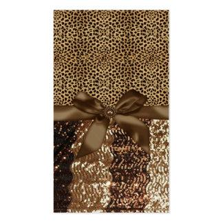 Leopard Print,Ribbon,Bow,Rhinestone Business Card