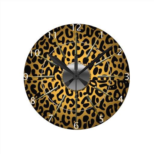 Leopard Print Round Wallclocks