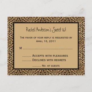 Leopard print RSVP Postcard postcard