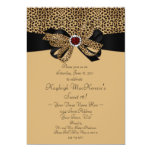 Leopard Print Ruby Diamonds Sweet 16 Invitation