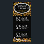"""Leopard Print Salon Coupons Rack Card<br><div class=""""desc"""">This leopard print &amp; black rack card features 3 Coupons on the front and salon info on the back, including a list of services. All info can be edited to suit your business needs, including Coupon amounts and details. Perfectly personalized promotional materials for hairdressers, hair salons, spas and other companies...</div>"""