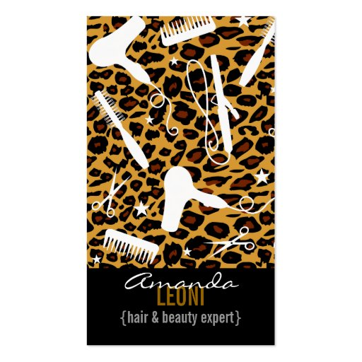 Leopard Print Salon Tools Vertical Business Card