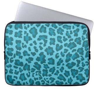 Leopard Print Shades of Blue Laptop Sleeves