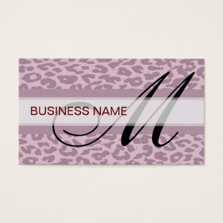 Leopard Print Skin and Monogram Business Card
