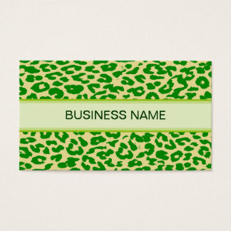 Leopard Print Skin and Plain Green Business Card