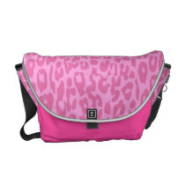 Leopard Print Skin Fur | Pink Retro Messenger Bag