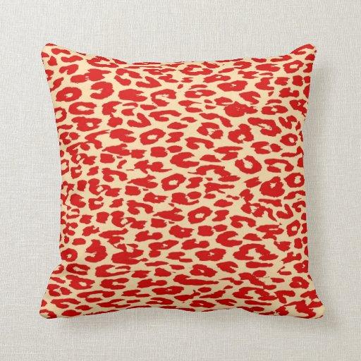 Leopard Print Skin Red Throw Pillow Zazzle