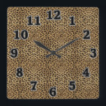 """Leopard Print Square Wall Clock<br><div class=""""desc"""">Leopard Print Square Wall Clock This Leopard Print design has a black , brown and orange Leopard pattern. Stand out from the crowd with this Leopard Pattern Square Wall. Perfect for any room in your home or office. This wall clock is vibrantly printed with AcryliPrint&quot;HD process to ensure the highest...</div>"""