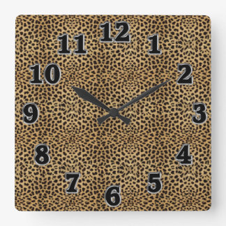 Leopard Print Square Wall Clock