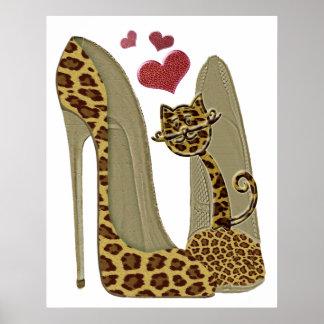 Leopard Print Stiletto and Cat Art Print