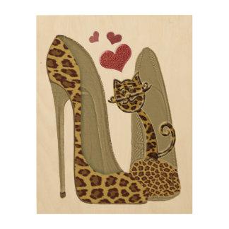 Leopard Print Stiletto, Cat and Hearts Art