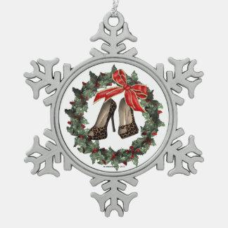 Leopard Print Stiletto Shoe Snowflake Ornament