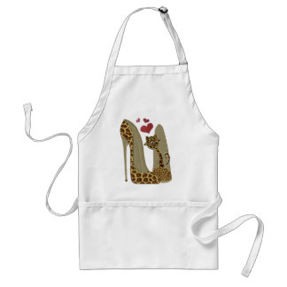 Leopard print Stiletto Shoes and Cute Cat Hearts Adult Apron