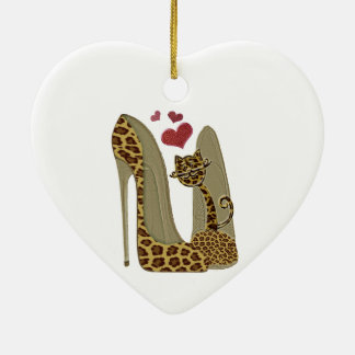 Leopard print Stiletto Shoes and Cute Cat Hearts Ceramic Ornament
