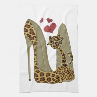 Leopard print Stiletto Shoes and Cute Cat Hearts Hand Towel