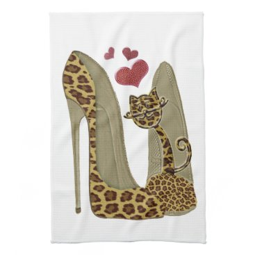 Valentines Themed Leopard print Stiletto Shoes and Cute Cat Hearts Hand Towel