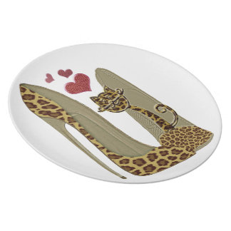 Leopard print Stiletto Shoes and Cute Cat Hearts Plate