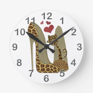 Leopard print Stiletto Shoes and Cute Cat Hearts Round Clock