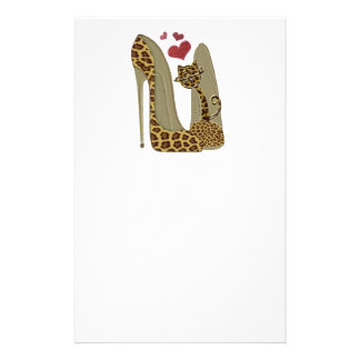 Leopard print Stiletto Shoes and Cute Cat Hearts Custom Stationery