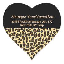 Leopard Print Stylish Return Address Heart Sticker