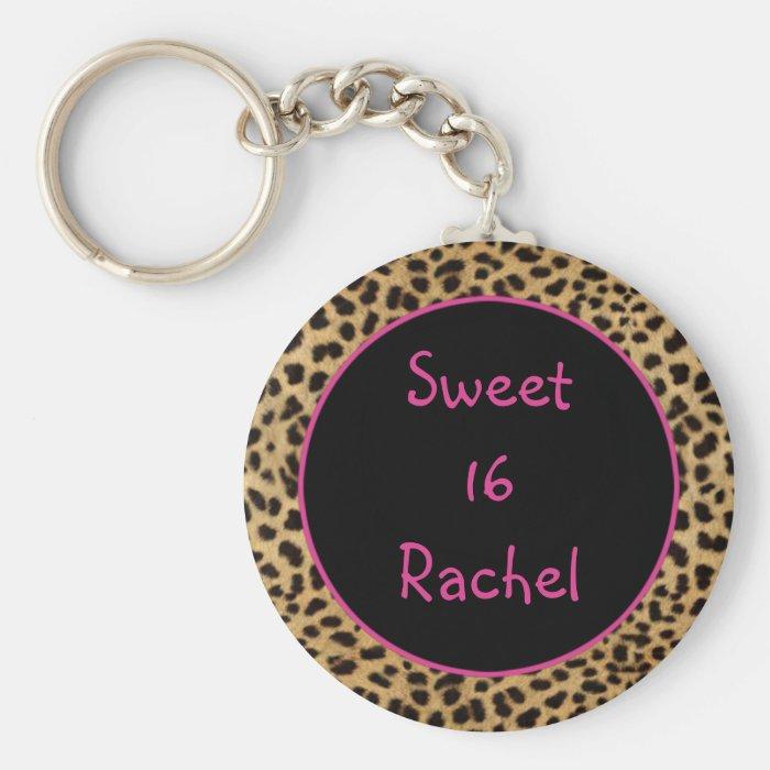 Leopard Print Sweet 16 Keychain