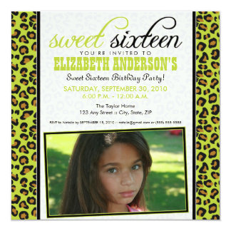 Leopard Print Sweet 16 Party Invitation (lime)