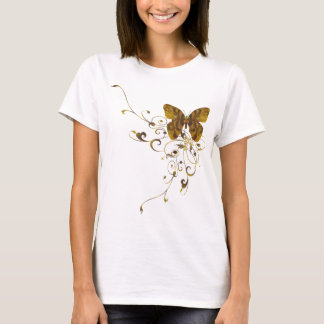 Leopard Print Swirl/Embossed Butterfly Ladies T-Shirt