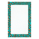 Leopard Print/teal/Add background color!! Stationery Paper