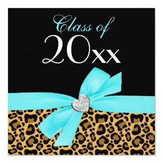 Leopard Print Teal Blue Bow Heart Graduation Party Personalized Invitations