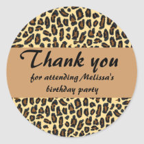 Leopard Print Thank You Classic Round Sticker