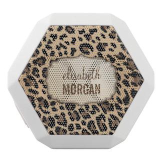 Leopard Print Trendy Stylish Custom Monogram Name White Boombot Rex Bluetooth Speaker