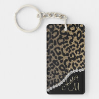 Leopard Print w/ Diamonds Monogram Keychain