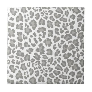 Leopard Print White and Gray Ceramic Tile