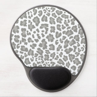 Leopard Print White and Gray Gel Mouse Pad