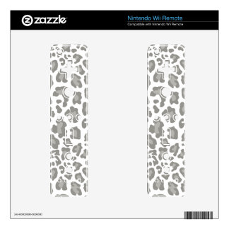 Leopard Print White and Gray Decal For Wii Remote