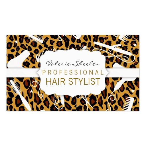 Leopardprintwhitehairsalontoolsbusinesscard