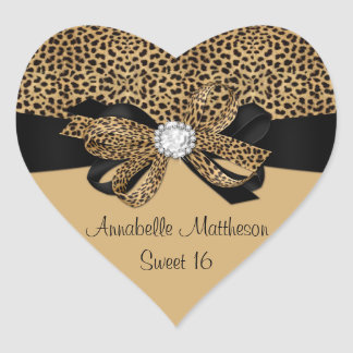 Leopard Print White Jewel Diamonds Sweet 16 Hear Heart Sticker