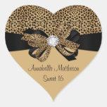 Leopard Print White Jewel Diamonds Sweet 16 Hear Heart Sticker
