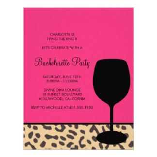 leopard print wine bachelorette invitations