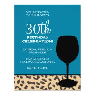 leopard print wine birthday card