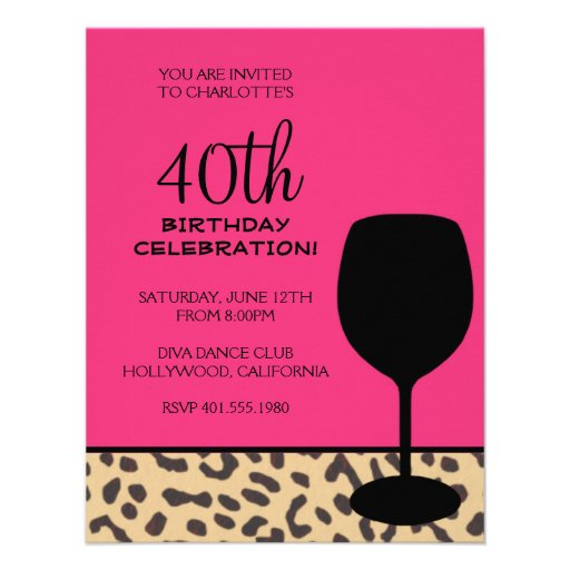 leopard print wine birthday personalized announcements