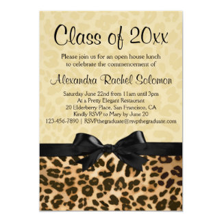 Leopard Print with Bow Graduation/Party Invitation